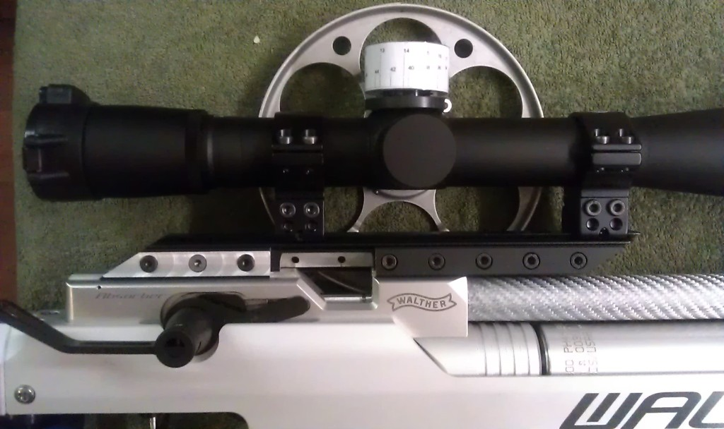 Scope mounted on the Airforce/Gunpower scope rail