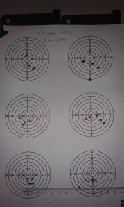 Eight five shot groups from the LG400. Ruler is in centimeters