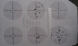First 3 groups of 10 shot@50meters. 4,52 Die 80.