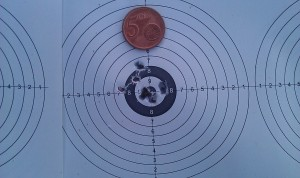 Walther LG400; 10 shots at 50m, FT pos. 1st July 2014