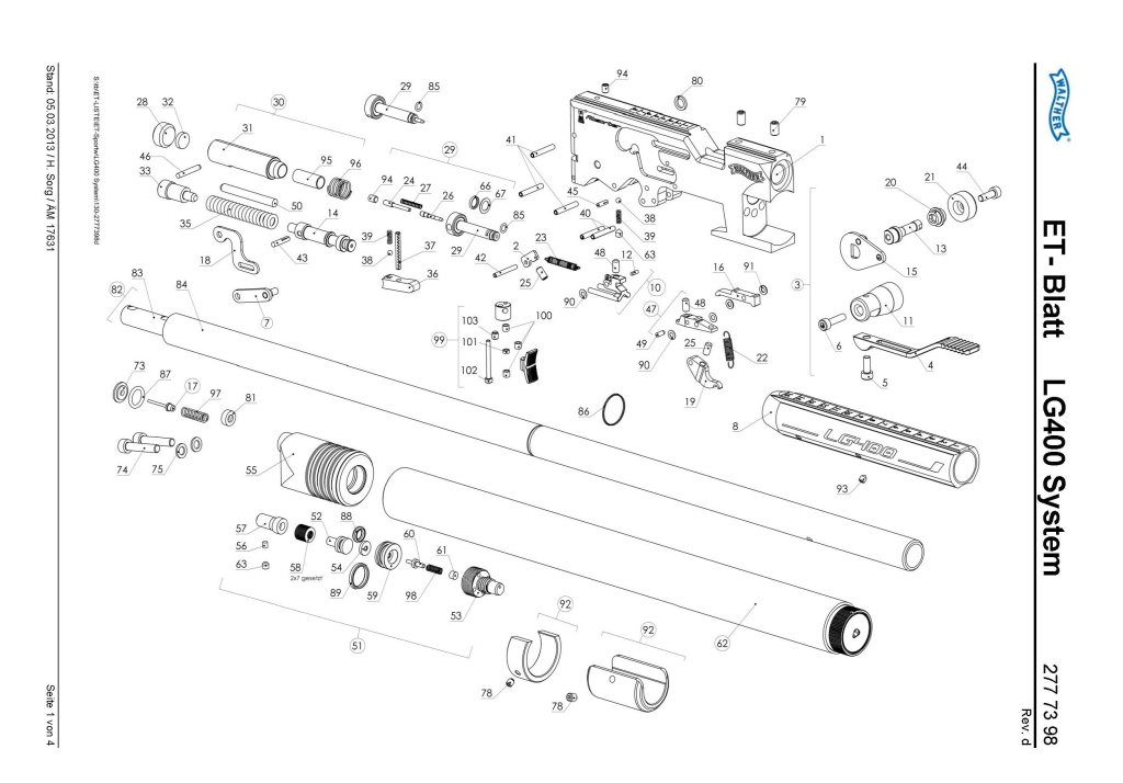 Walther LG400 Exploded view