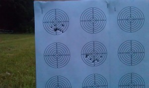 10 shot groups at 50 meter. Top left at a rifle temperature of 18.2 C bottom right with cold rifle (5.4 to 7.3 C)