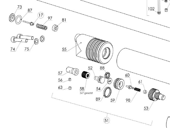 LG400 regulator exploded view (from Walther Ersatzteilliste)