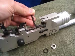 8. Unscrew the regulator Allen bolts a quarter turn each with a 4mm Allen key.